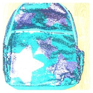 New sequins backpack with stars & teal background